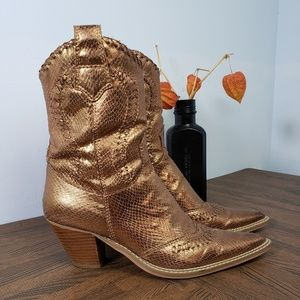Charles Albert  Metallic Boots Copper Colour